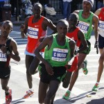 Tsegaye Kebede, Matthew Kisorio, Geoffrey Mutai, Emmanual Matai, Gebre Gerbremariam, and Jaouad Gharib compete in the 2011 New York City Marathon